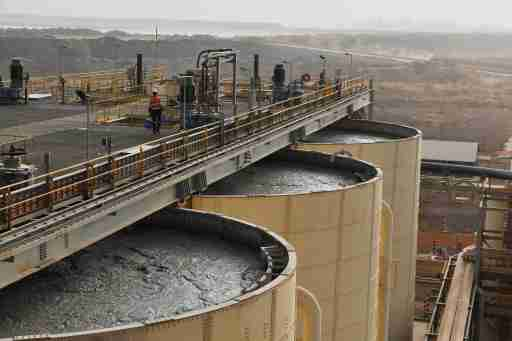 A view of tanks containing muds from which gold will be extracted at the gold mine site, operated by Endeavour Mining Corporation in Hounde, Burkina Faso February 13, 2020.Picture taken February 13, 2020.Reuters/Anne Mimault