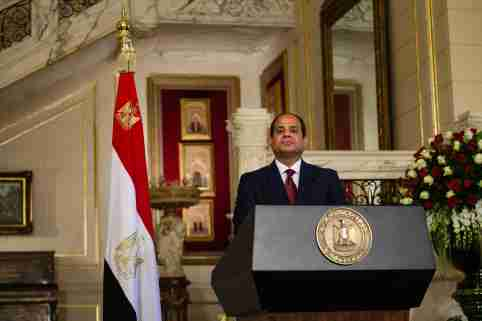 Egyptian President Abdel Fattah al-Sissi speaks during a joint press conference with his Egyptian counterpart Francois Hollande at the presidential palace of al- Orouba for the official visit of the French president, Cairo on April 17, 2016. Cairo, Egypt, April 17, 2016. Photo by Etienne Bouy/ABACAPRESS.COM