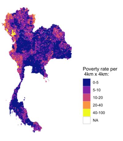 Figure 1. Modélisation de la pauvreté en Thaïlande depuis l'espace