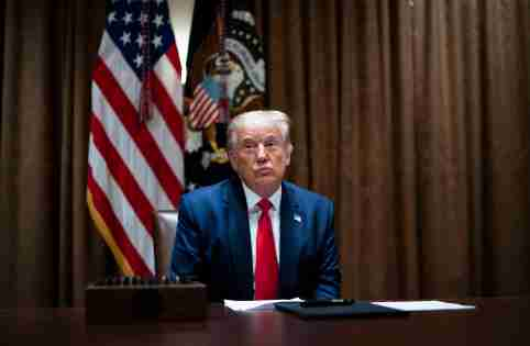 US President Donald J. Trump makes remarks as he meets with US Tech Workers and signs an Executive Order on Hiring Americans, in the Cabinet Room of the White House, in Washington, DC, USA, 03 August 2020. No Use UK. No Use Germany.