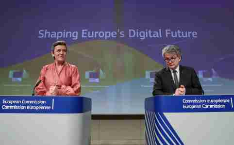 European Commissioner for a Europe Fit for the Digital Age Margrethe Vestager and European Internal Market Commissioner Thierry Breton attend the presentation of the European Commission's data/digital strategy in Brussels, Belgium February 19, 2020.