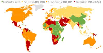 Carte 1. Certaines économies pourraient mettre plus de cinq ans à se remettre du coronavirus