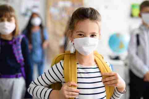 Female student wears a mask in school