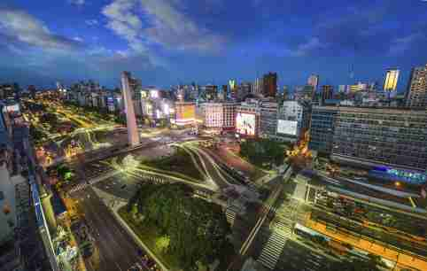 Buenos Aires, Argentina, - February. 20. 2016: Aerial view of Buenos Aires city at night
