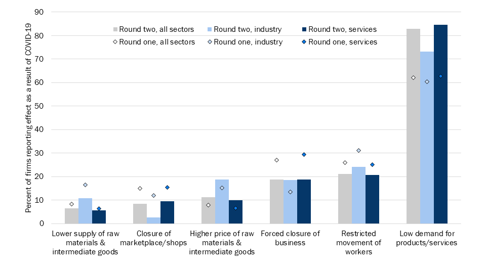 Figure 2. Ways in which Ethiopian firms are affected by COVID-19