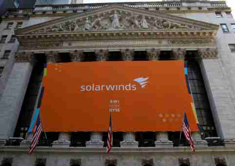 SolarWinds' banner hangs at the New York Stock Exchange