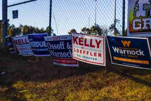 Georgia runoff election campaign signs