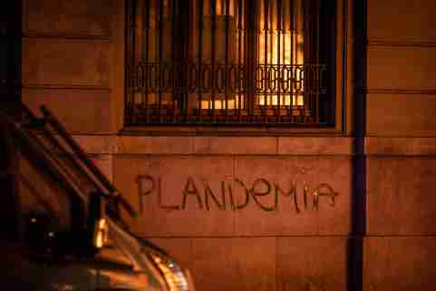 "The word ""plandemic"" is painted on a wall in Barcelona, Spain, in protest against COVID-19 restrictions imposed by the Spanish government."