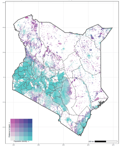 Figure 1. Central and Western Kenya is well served by money transfer agents