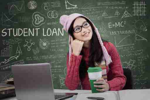 Attractive girl studying in the classroom and dreaming about student loan while wearing winter wear
