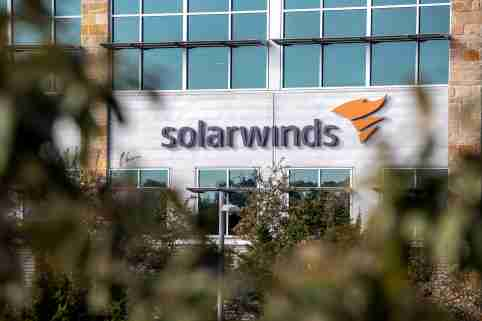 The logo of network management company SolarWinds is displayed on the facacde of its corporate headquarters in Austin, Texas.