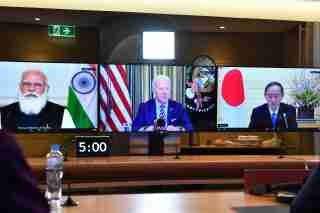 The inaugural Quad leaders meeting with the President of the United States Joe Biden, the Prime Minister of Japan Yoshihide Suga, the Prime Minister of India Narendra Modi and Prime Minister of Australia Scott Morrison during a virtual meeting in Sydney, Saturday, March 13, 2021. (AAP Image/Pool/Dean Lewins) NO ARCHIVING