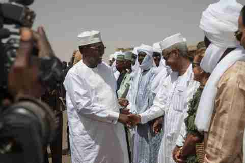 "File photo - Chad, Ennedi, Amdjarass, arrival of President Idriss Deby with his wife in his native village and official welcome at the airport. Chad's President Idriss Deby has died while visiting troops on the front line of a fight against northern rebels, an army spokesman said on Tuesday, the day after Deby was declared the winner of a sixth term in office. Deby's campaign said on Monday that he was headed to the front lines to join troops battling ""terrorists"". Photo by Pascal Avenet/ABACAPRESS.COM"