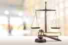 Scales of justice and a gavel.