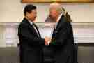 File photo dated February 14, 2012 of U.S. Vice President Joe Biden and Chinese Vice President Xi Jinping hold an expanded bilateral meeting in the Roosevelt Room at the White House in Washington, DC, USA. China will pay a price for its human rights abuses, U.S. President Joe Biden warned on Tuesday, responding to queries at a televised event on the Asian nation's handling of Muslim minorities in its far western region of Xinjiang. Chinese President Xi Jinping has drawn global criticism for holding the minority Uighurs in internment camps and other human rights abuses. Photo by Chip Somodevilla/Pool/ABACAPRESS.COM