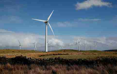 FILE PHOTO: Wind turbines are seen at Mynydd Portref Wind Farm near Hendreforgan in South Wales, Britain, March 26, 2021. REUTERS/Matthew Childs/File Photo