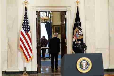 United States President Joe Biden delivers remarks on the Middle East ceasefire agreed to by Israel and Hamas in the Cross Hall at the White House in Washington.Featuring: President Joe BidenWhere: Washington, District Of Columbia, United StatesWhen: 20 May 2021Credit: POOL via CNP/INSTARimages/Cover Images