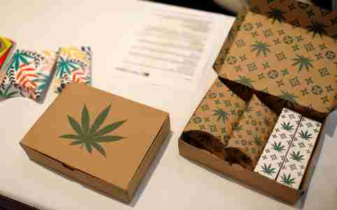 FILE PHOTO: Cannabis product boxes are displayed at The Cannabis World Congress & Business Exposition (CWCBExpo) trade show in New York City, New York, U.S., May 30, 2019. REUTERS/Mike Segar/File Photo