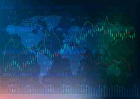 Stock market chart over world map