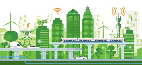 Cityscape with Infrastructure and Transportation, Smart City, Connected, Green and Clean Energy Concept By MuchMania | Shutterstock ID: 709586686