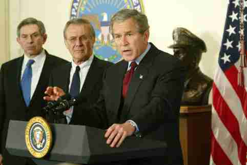 File photo dated March 25, 2003 of United States President George W. Bush (R) speaks next to US Secretary of Defense Donald Rumsfeld (C) and US Deputy Secretary of Defense Paul Wolfowitz (L) during a visit at the Pentagon in Arlington, Virginia. Donald Rumsfeld, the acerbic architect of the Iraq war and a master Washington power player who served as US secretary of defense for two presidents, has died at the age of 88. Photo by Alex Wong/Pool via CNP/ABACAPRESS.COM