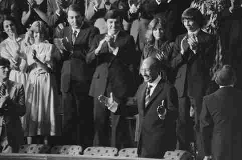 Egyptian President Anwar Sadat acknowledges applause during a Joint Session of Congress in which U.S. President Jimmy Carter announced the results of the Camp David Accords, on Capitol Hill in Washington, D.C., September 18, 1978. Library of Congress/Warren K. Leffler/Handout via REUTERS