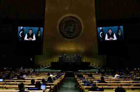 Pakistan's Prime Minister Imran Khan addresses, via prerecorded video the General Debate of the 76th Session of the United Nations General Assembly at U.N. Headquarters in New York City, U.S., September 24, 2021. Peter Foley/Pool via REUTERS