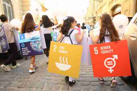 BAKU, AZERBAIJAN -9.26.2019 The event was dedicated to the Global Week on the Global Climate Strike and International Climate Action Summit .March on Sustainable Development Goals