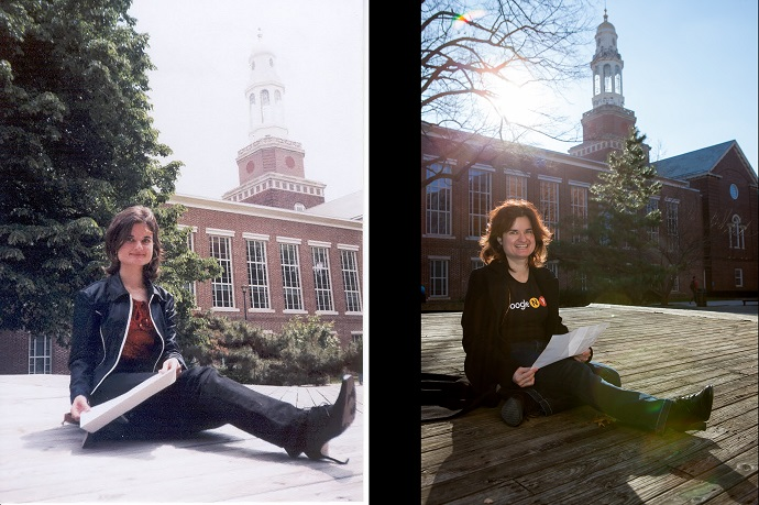 <p>A photo of Felder on the Brooklyn College campus in 2003recreated in 2018. Original photo provided by Felder. Recent photo and diptych by Craig Stokle.</p>