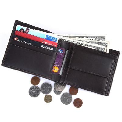 RFID Blocking Bifold Genuine Leather Wallet For Men With Coin Pocket   Dark Brown