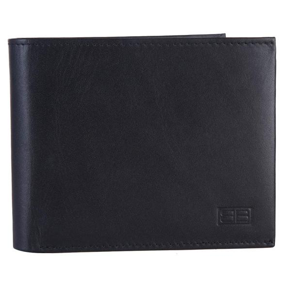 RFID Blocking Bi-fold Genuine Leather Wallet For Men With Coin Pocket And ID Window | Black