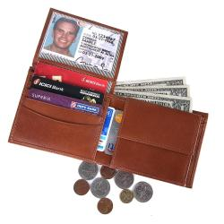 RFID Blocking Bi-fold Genuine Leather Wallet For Men With Coin Pocket And ID Window | Tan