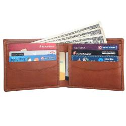 RFID Blocking Bi-fold Genuine Leather Slim Leather Wallet For Men | Tan