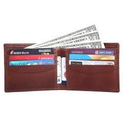 RFID Blocking Bi-fold Genuine Leather Slim Leather Wallet For Men | Brown