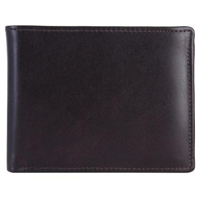 RFID Blocking Bifold Genuine Leather Wallet For Men With Coin Pocket And Chain in the Middle | Dark Brown
