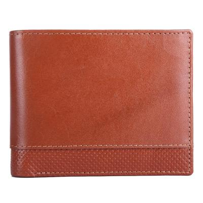 RFID Blocking Bifold Genuine Leather Slim Wallet For Men With Coin Pocket And ID Window | Tan
