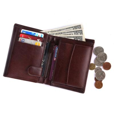 Bifold Genuine Leather Wallet For Men   Brown