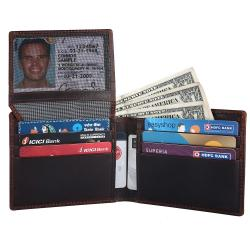 RFID Blocking Bifold Genuine Leather Wallet For Men With Coin Pocket And ID Window | Dark Brown