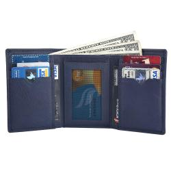 RFID Blocking Trifold Genuine Leather Wallet For Men With ID Window | Navy Blue
