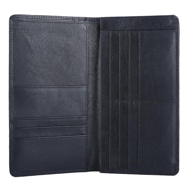 RFID Blocking Bifold Genuine Leather Passport Wallet With Nine Card Slots For Both Men And Women | Black