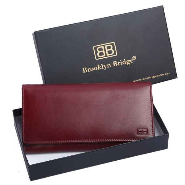 RFID Blocking Genuine Leather Clutch Wallet for Women | Blood Red