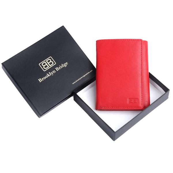 RFID Blocking Trifold Genuine Leather Wallet For Men And Women With ID Window | Tomato Red