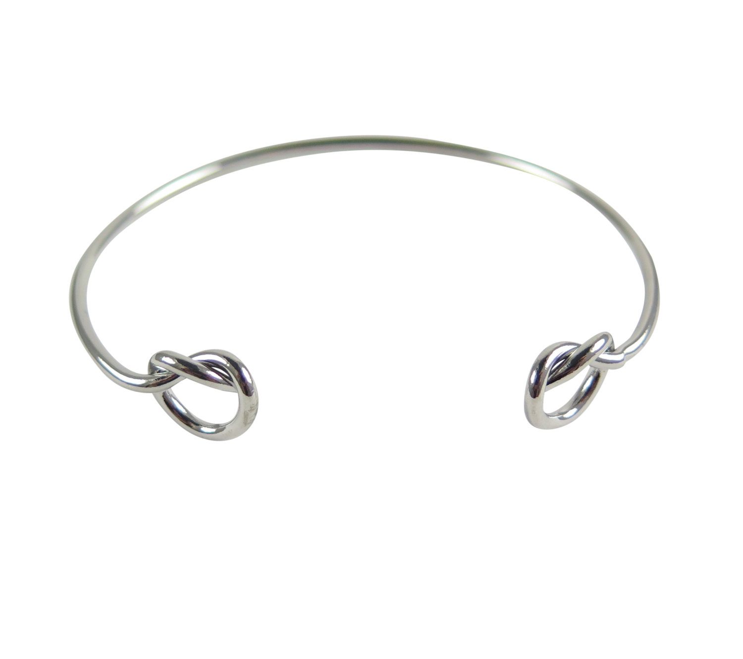 Wire Double Knot Adjustable Bangle Bracelet