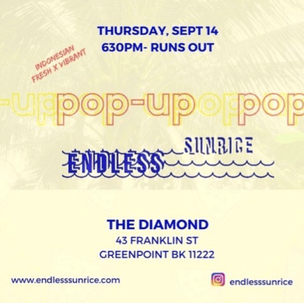 endless sunrice pop up dinner at the diamond greenpoint