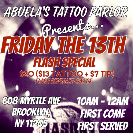 friday the 13th tattoo special at abuelas