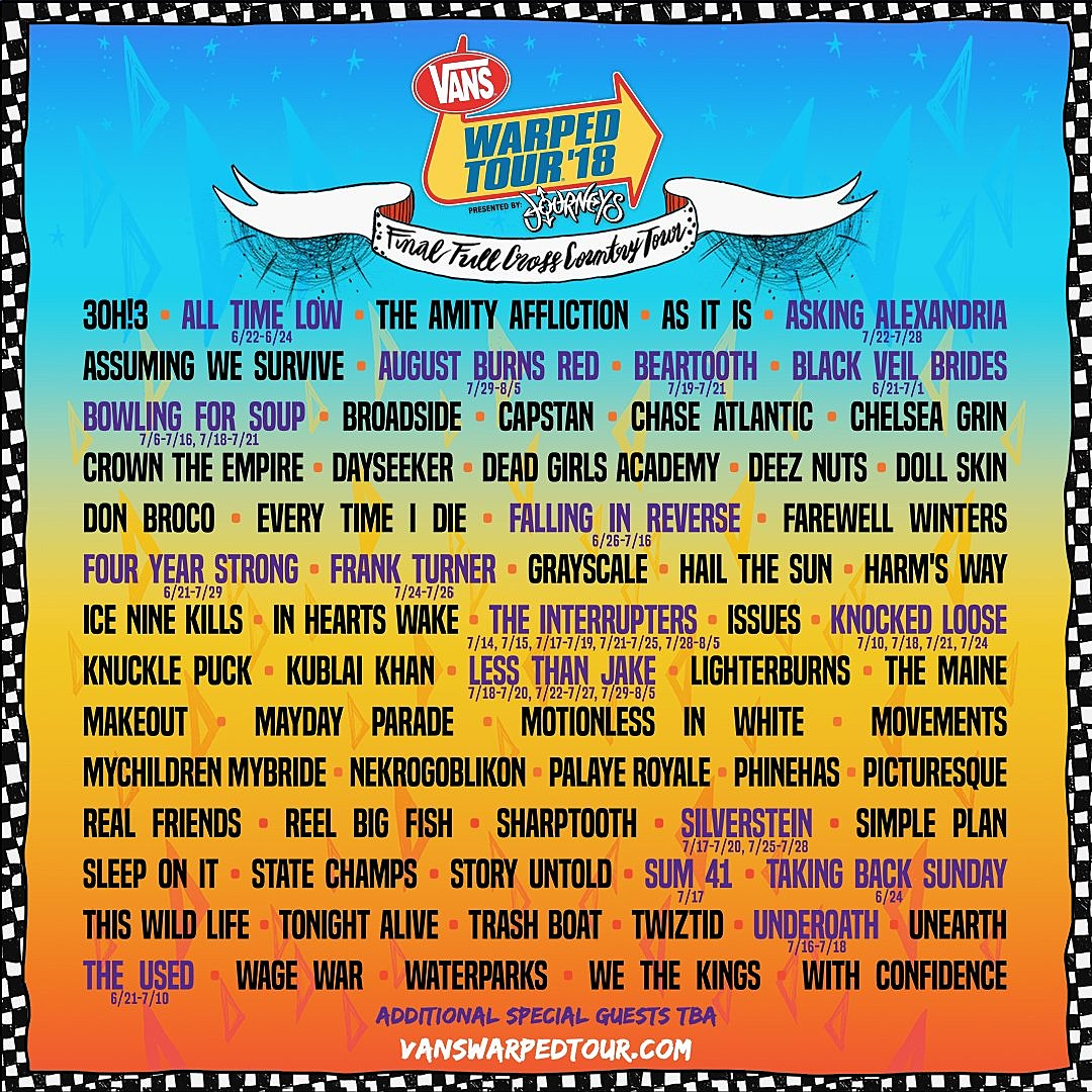 Image result for warped tour 2018 lineup
