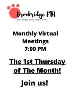 Monthly PTA Meeting @ Virtual Zoom Meeting