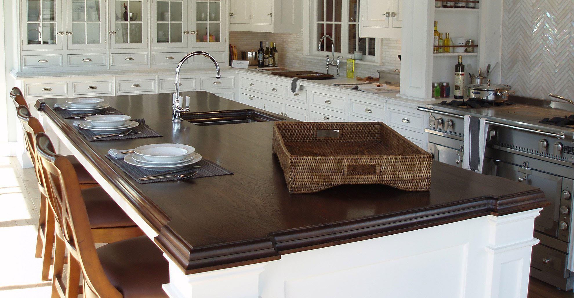 45 Classic White Kitchen Walnut Island Top Brooks Custom
