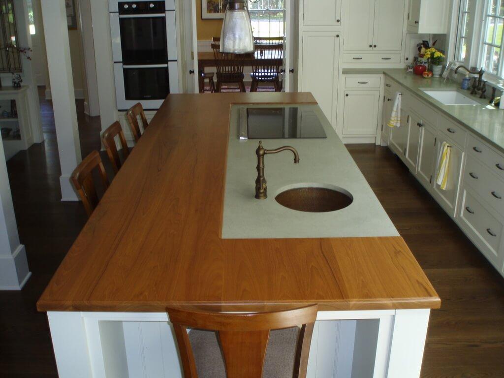Concrete And Walnut Island Countertop Brooks Custom