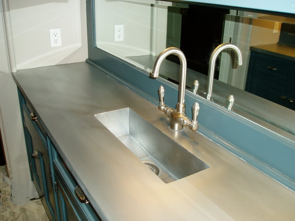 matte zinc countertop with integral trough sink this countertop is great for a bathroom on kitchen zinc id=79978